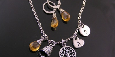 Custom Order with November Birthstone Citrine, Personalised Charms and a Gremlin Bell